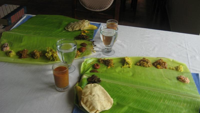 Meals at Camp Noel.. I think the traditional lunch should have 13 items or so (Rice not included in above pic). Indian tradition recommends to have meals in a banana leaf