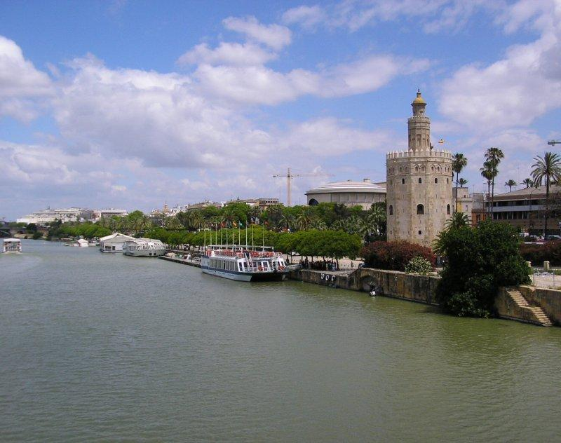 First stop in Seville was the 12 sided Torre d' Oro beside the river.