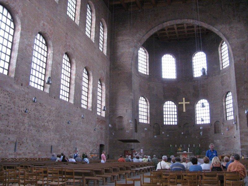 .. the Aula Palatina, a vast Roman throne hall.