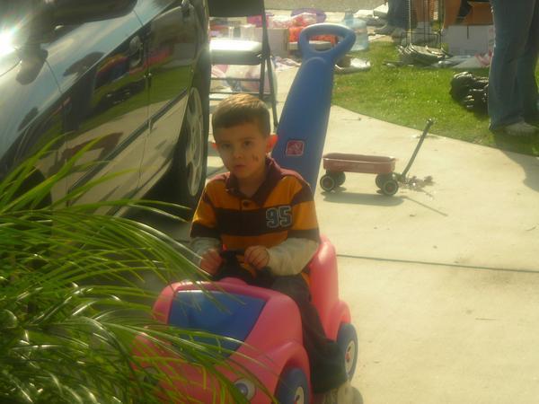 Xander loves the cars