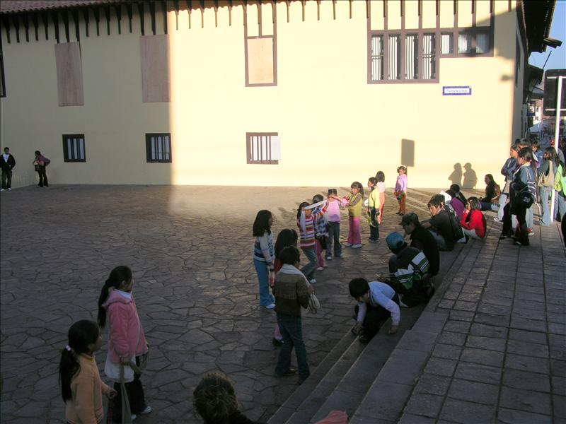 Kids practicing the traditional dance.