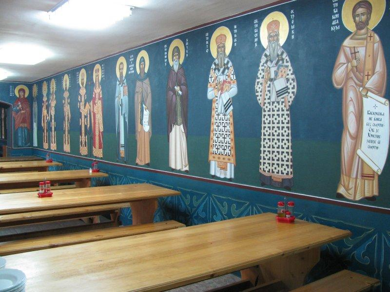 .. with colourful frescoes in the refectory.