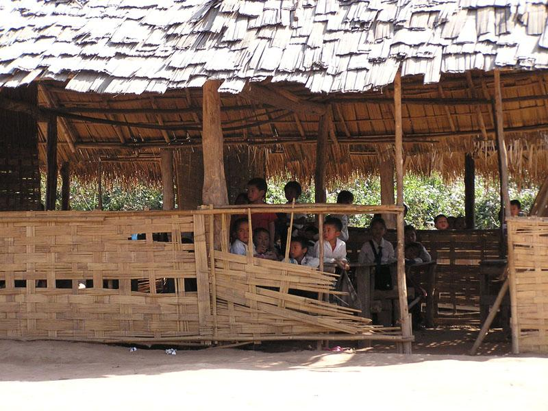 This was a village elementary school in the Oudomxay Province. It's made of wood/bamboo, and has 8 classrooms. Due to lack of space/funding, only a couple kids from each family are able to attend the school (and there's not another just down the road).