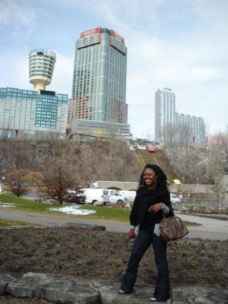 Maame and the skyline of many hotels