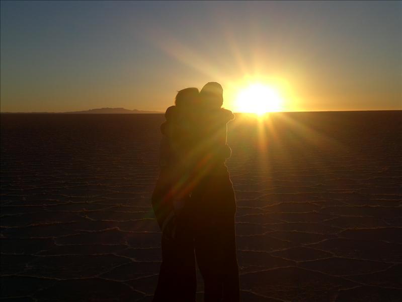 Eimear & Sarah - sunset on the salt flats
