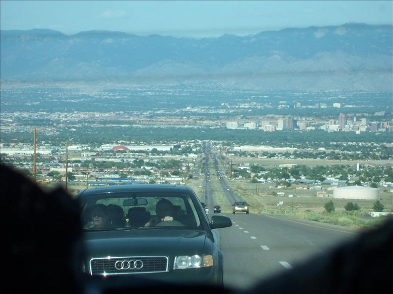 View of Clint's car behind us with Amarillo in the background