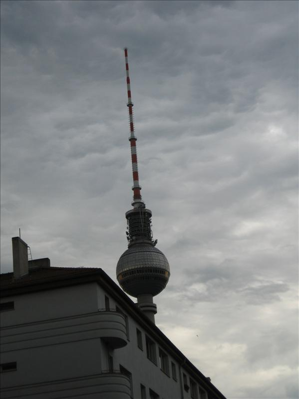 Looming TV tower
