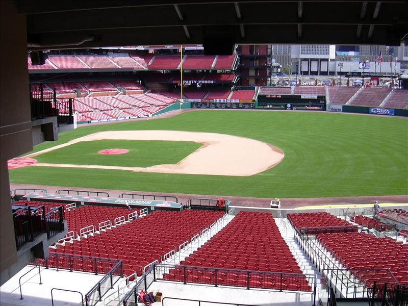 The playing field in the new Busch Stadium in St. Louis, Missouri