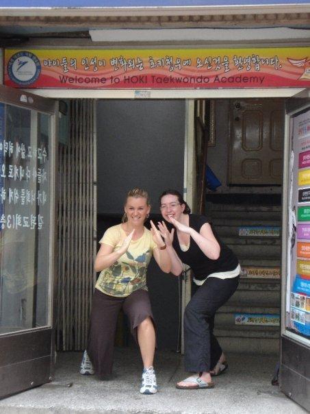 08/02 - Seoul - TaeKwonDo -   me and laine getting ready to KICK ASS!
