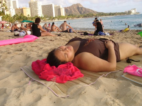 Tina relaxing at Diamond Head