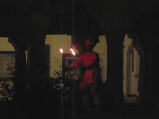 Dancing man eating fire