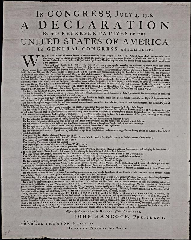 Original copy,declaratation of independance
