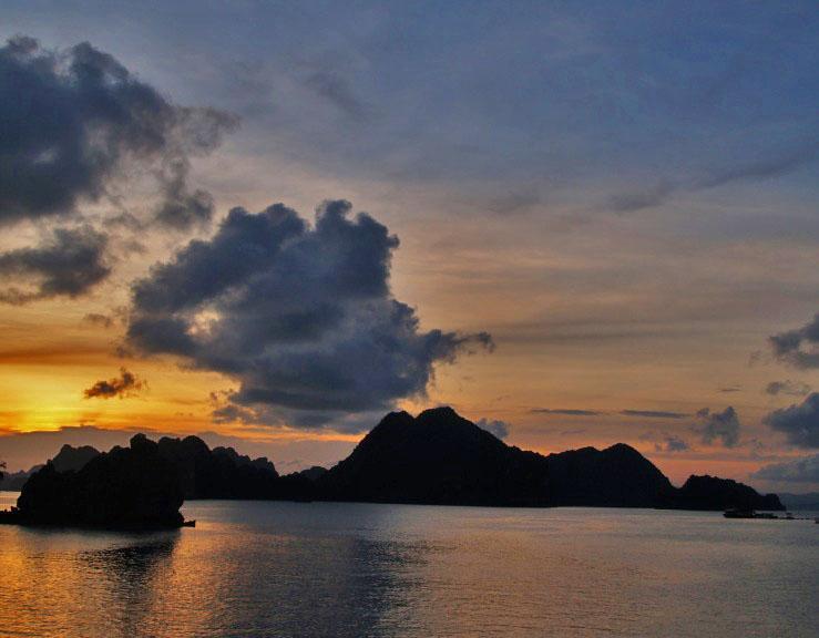 sunset on halong bay.