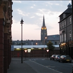 Belfast church at dusk