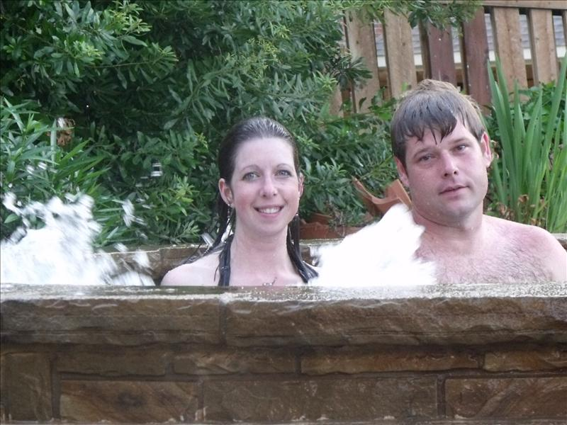 Us in the hot tub.