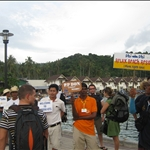 Arriving on Ko Phi Phi Don - the only inhabited island of the Phi Phi islands and waiting for a boat to take us to our small beach resort
