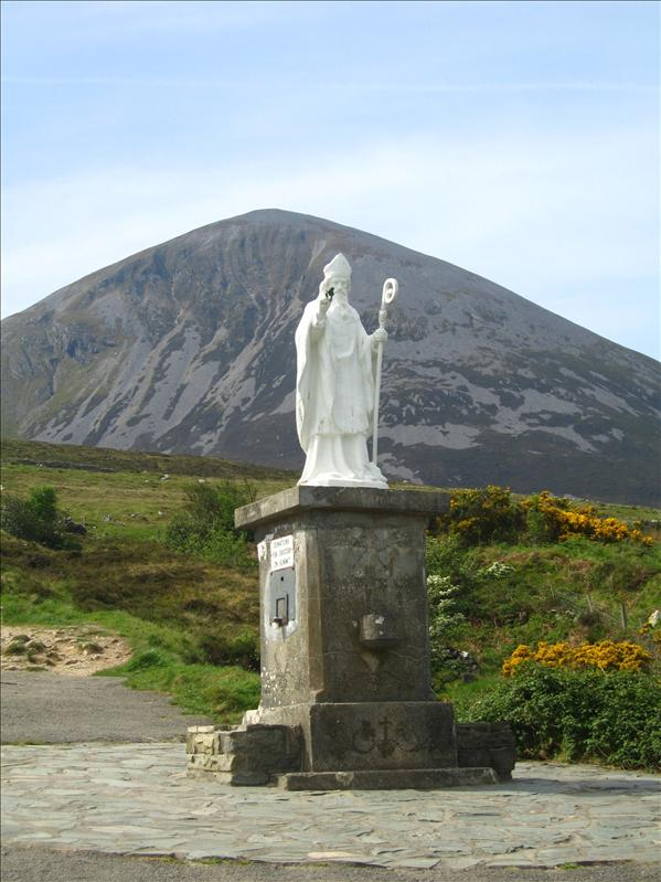 Croagh Patrick where the snakes were driven out.. the church on the top is the endpoint of the pilgrimage