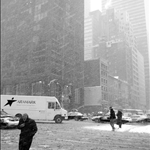 2 march walking to central park in snowstorm