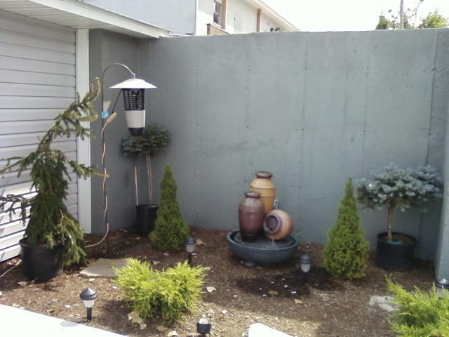fountain area of wine kegs