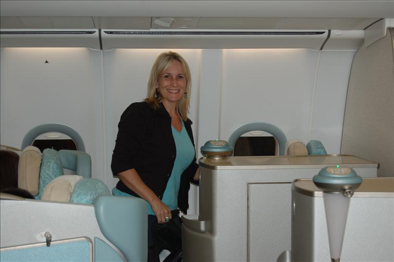 Lori and I flying 1st Class! Yippeeeeee!