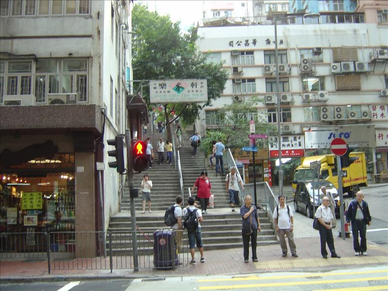 """Ladder Street"" leading up to Hollywood Road and down to 'Queen's central Road"