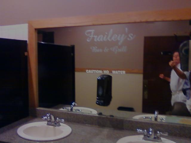Nice job etching Frailey's on the mirror, this is rare to see in any bar usa.