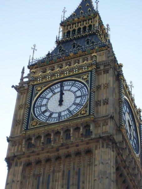 A closeup of Big Ben.  And just so happened he wasn't working.  They were doing maintenance work on the clock.