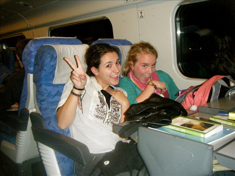 chelsey and dana..on the way back from florence