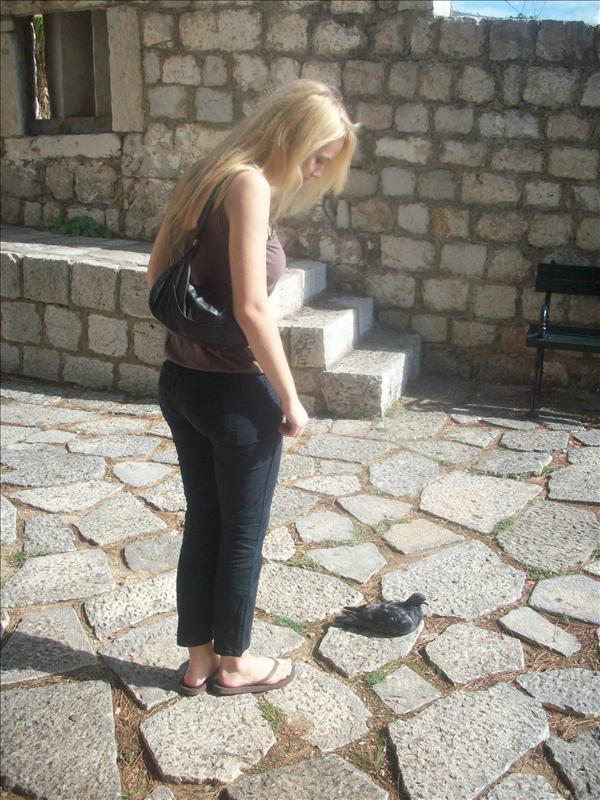 Me and my pigeon friend, I have lots of those these days. Pigeons are virtually unafraid here. One flew into me!