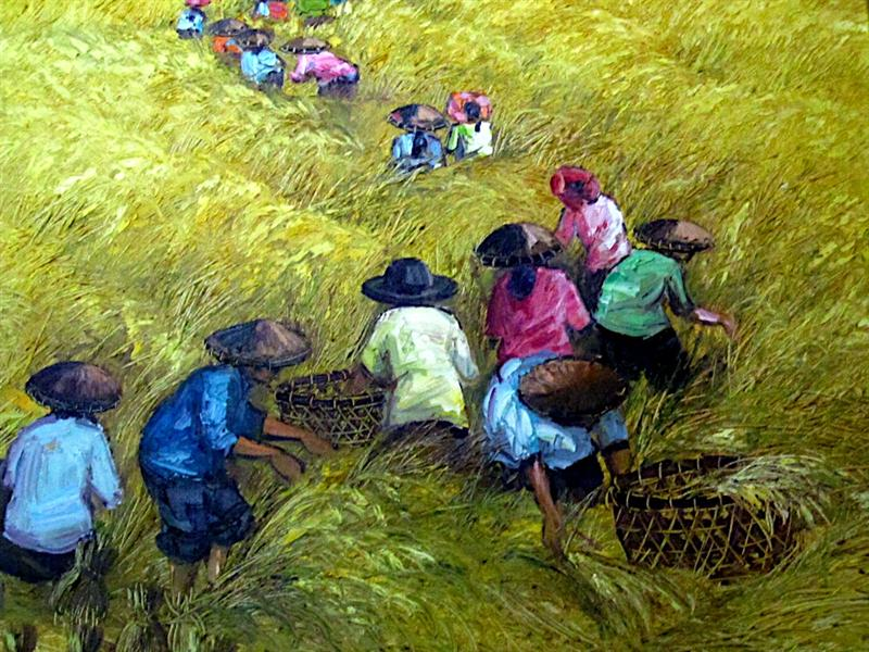 "One of his paintings, ""Harvesting."""