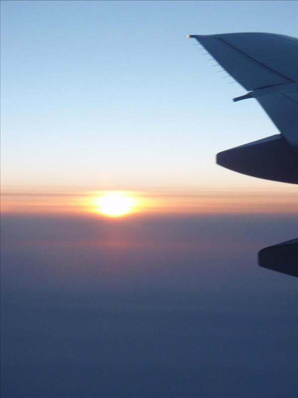 I saw 2 sunsets and 2 sunrises during the flight, this is one...