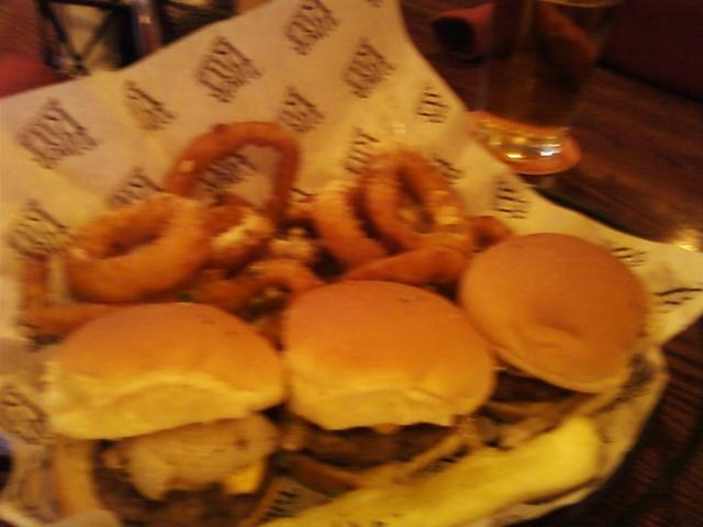 our sliders, little burgers with onion rings