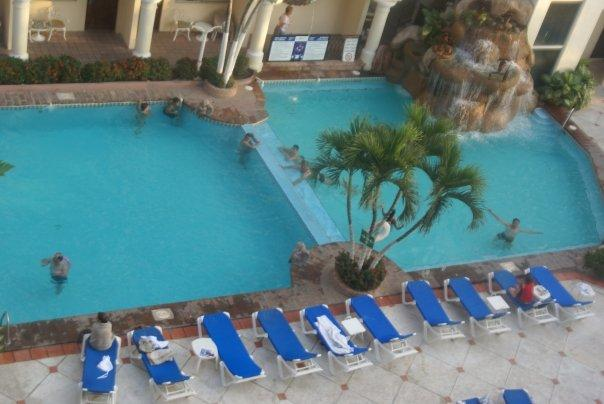 View of the pool from the hotel room.