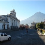 Antigua, Guatemala - check out the volcano in the background.