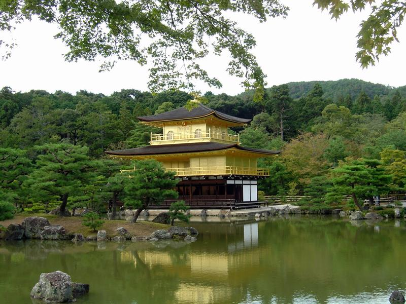 "golden pavilion-ROKUON-JI Temple (金閭 鹿苑寺). Its popular name is ""Kinkaku"" (Golden Pavilion) and was inscribed as ""World Cultural Heritage"" in 1994. (世界文化遣產之一)"