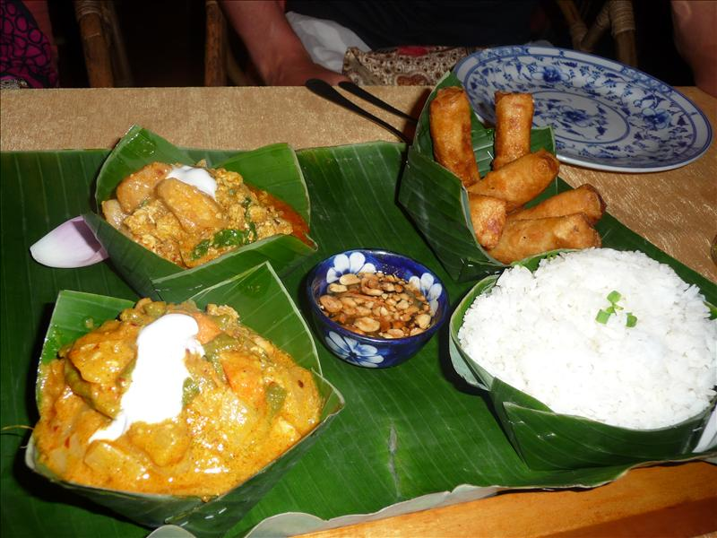 Dinner first night in Siem Reap - Khmer Curry, Amoc and spring rolls - yum!