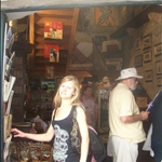 Jessy in a tourist shop, being a tourist!