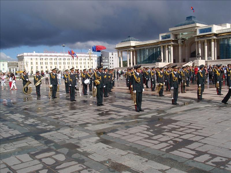 Army band waiting for the start of the Nadaam ceremony