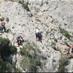 Nearby rock climbers on the way to ....
