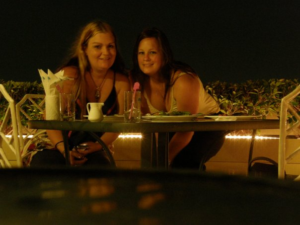 Shan & I at the rooftop restaurant of the Grande Ville Hotel on our last night in Bangkok.