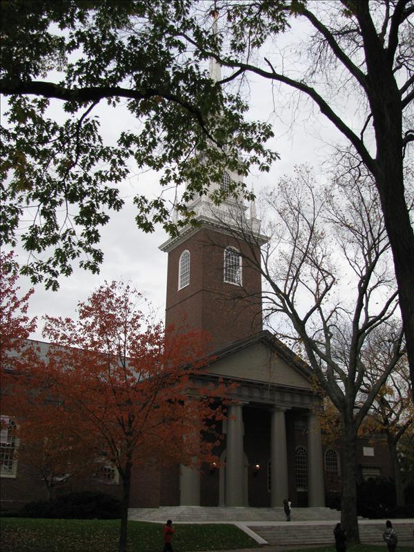 Harvard Memorial church waar een week geleden al gore een toespraak hield
