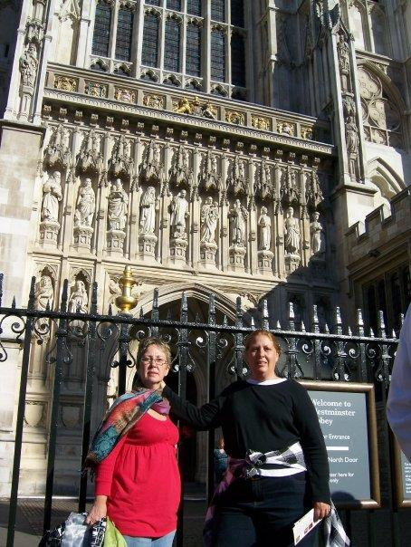 Melanie and I in front of Westminister Abbey.