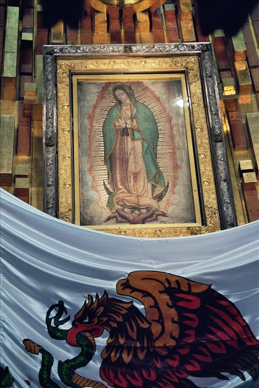 The miraculous image of Nuestra Senora de Guadalupe above the main altar in the basilica