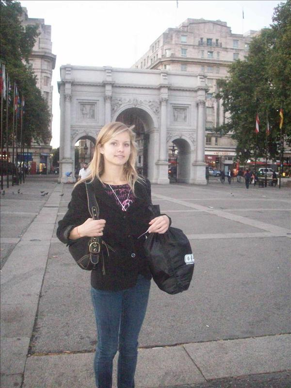 Jess at the Marble arch. Literally, its just a marble arch,