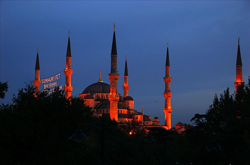 The Blue Mosque of Sultanahmet during sunset