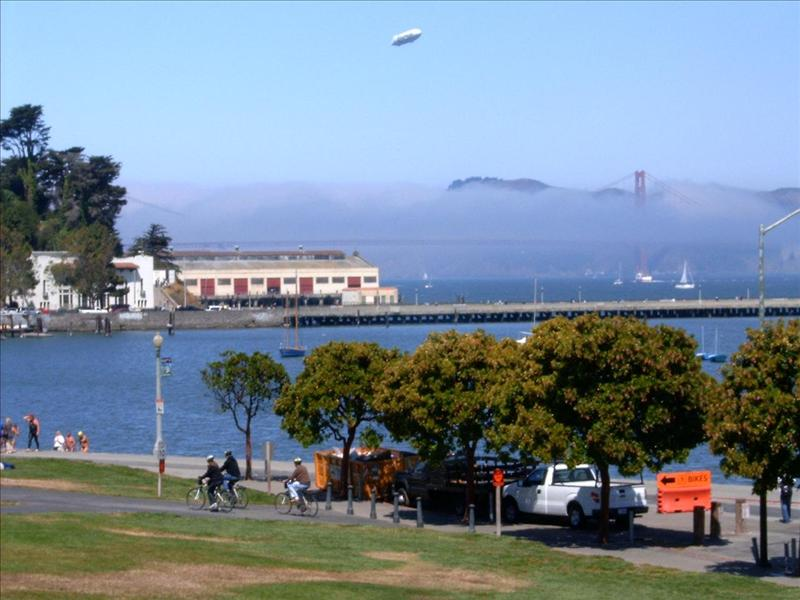 Fisherman's Wharf - View of Golden Gate Bridge in the fog