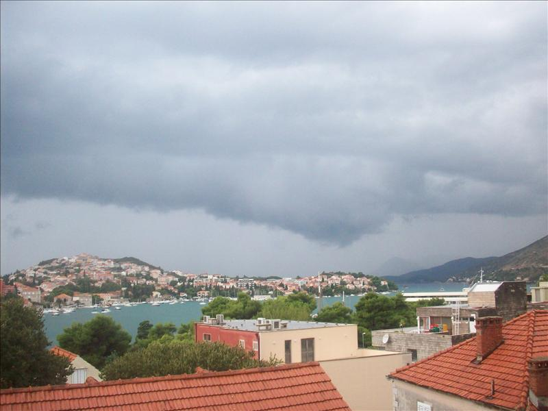 The view from the balcony, yes that is a hideous raincloud.