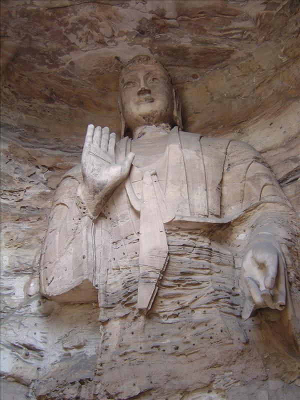 One of the large Buddha statue inside the cave