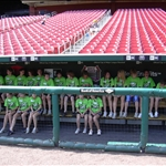 in the dugout at the new Busch Stadium, St. Louis, Missouri