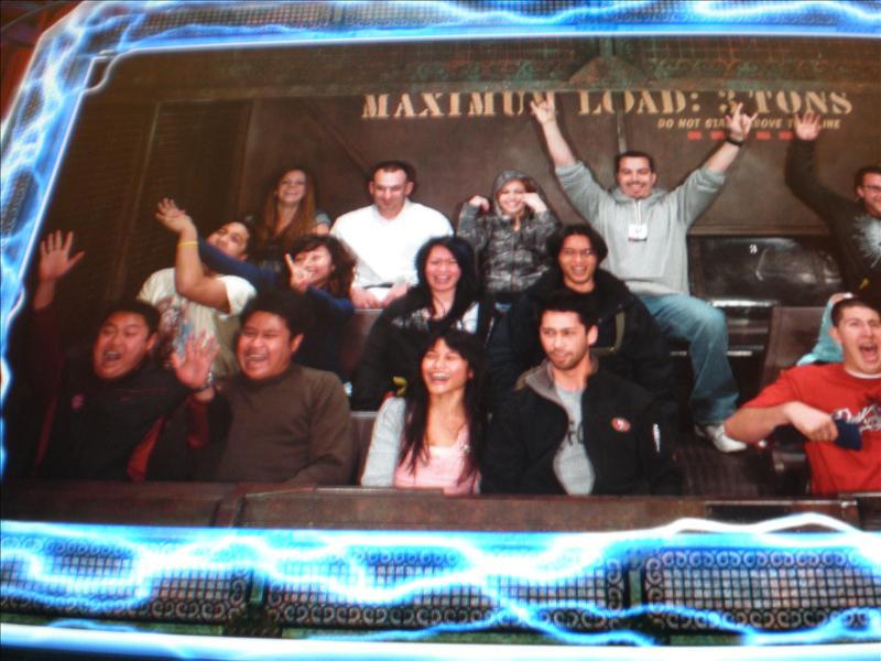 Reaction shot inside the Tower of Terror